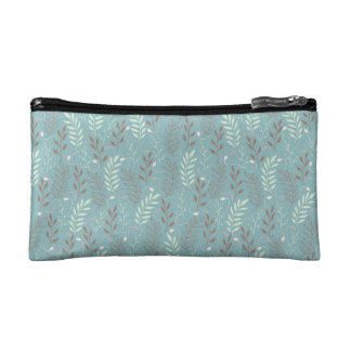 Blue Branches and Leaves Pattern Cosmetic Bag