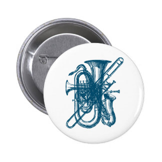 Blue Brass & Sax 6 Cm Round Badge