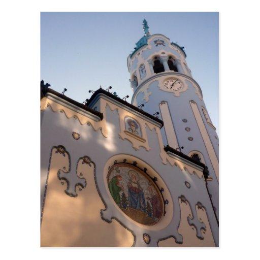 blue bratislava church post card