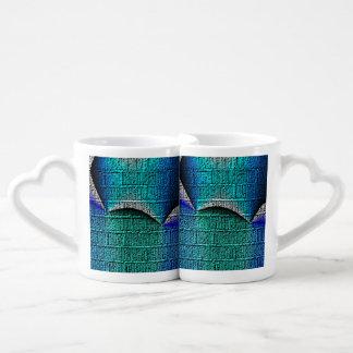 Blue brick pattern lovers mug set
