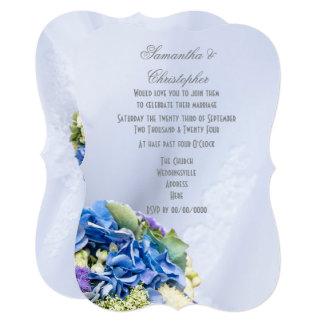 Blue bridal flowers wedding card