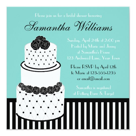 Blue Bridal Shower Black & White Wedding Cake Card