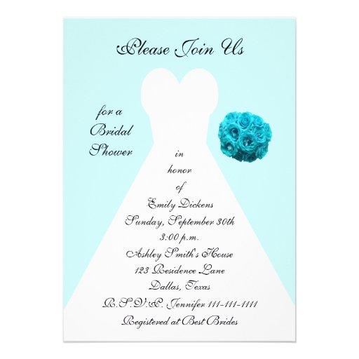 Blue Bridal Shower Invitation -- Wedding Gown Personalized Invite