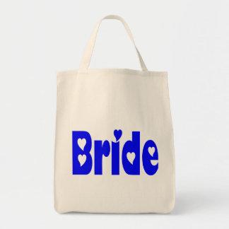 Blue Bride Heart Wedding Tote Bag Grocery Tote Bag