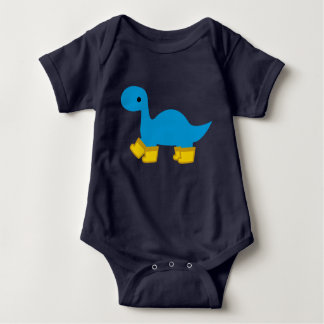 Blue Brontosaurus Dinosaur and Rainboots Baby Dino Baby Bodysuit