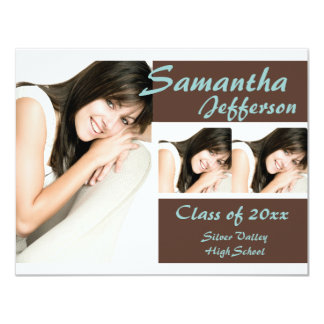 "Blue/Brown 3 Photo Graduation Announcement 4.25"" X 5.5"" Invitation Card"