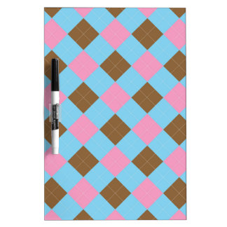 Blue, brown and pink plaid pattern Dry-Erase whiteboards