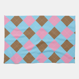 Blue, brown and pink plaid pattern hand towels