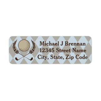 Blue Brown Argyle Golf Return Address Label