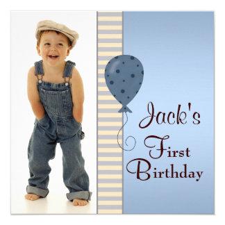 Blue Brown Boys Photo 1st Birthday Party 13 Cm X 13 Cm Square Invitation Card