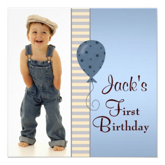 Blue Brown Boys Photo 1st Birthday Party Invites