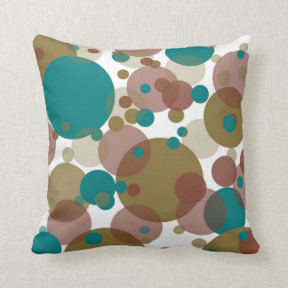 Blue Brown Bubbles White Throw Pillow