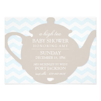 Blue Brown Chevron High Tea Baby Shower Invite