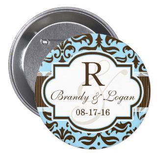 Blue & Brown Damask Wedding 7.5 Cm Round Badge