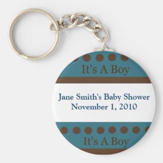 Blue & Brown Dot It's A Boy Key Chain Shower Favor