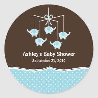 Blue & Brown Elephant Mobile Baby Shower Round Sticker