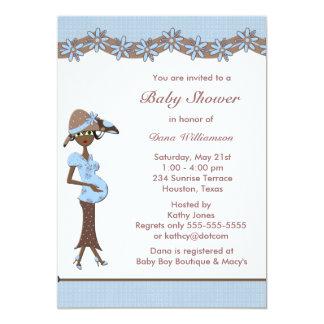 Blue Brown Ethnic Baby Boy Shower Invites