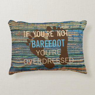 Blue Brown Faux Weathered Wood Planks Pattern Decorative Cushion