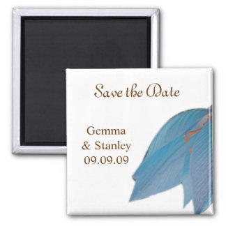 Blue & Brown Flower Save the Date Square Magnet