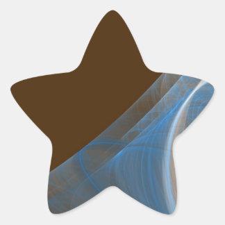 Blue & Brown Fractal Background Star Sticker