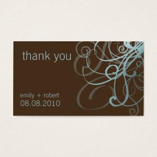Blue & Brown Funky Swirls • Wedding Favor Tag Business Card