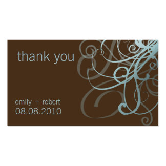 Blue & Brown Funky Swirls • Wedding Favor Tag Pack Of Standard Business Cards