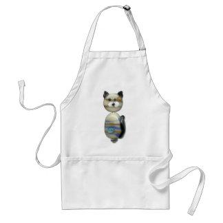 Blue Brown Glass Bead Cat Standard Apron
