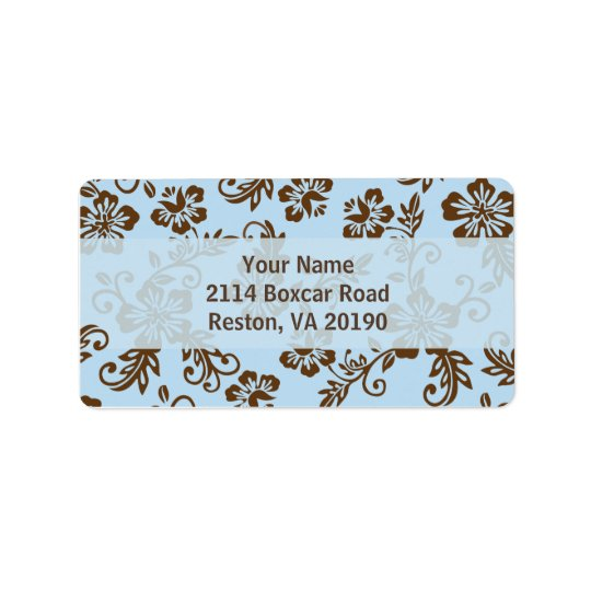 Blue/Brown Hawaiian Address Labels