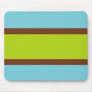 Blue, Brown & Lime Green Striped Mousepad