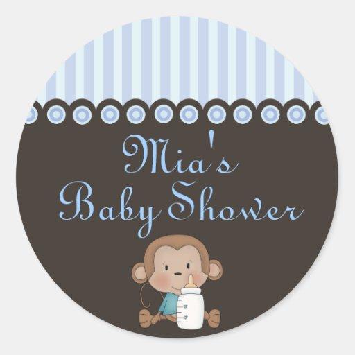 Blue & Brown Monkey Design Baby Shower Sticker