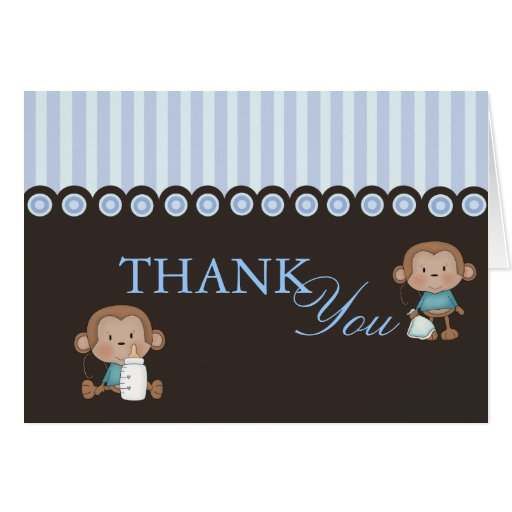 Blue & Brown Monkey Design Thank You Card