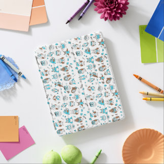 Blue brown owls pattern iPad cover