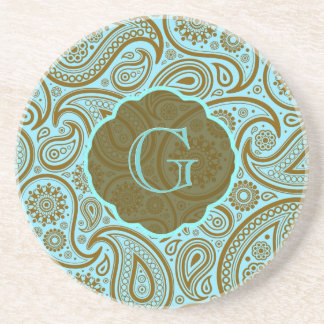 Blue & Brown Paisley Retro Pattern-Monogram Coaster