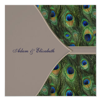 """Blue Brown Peacock Wedding Invitations 5.25"""" Square Invitation Card"""