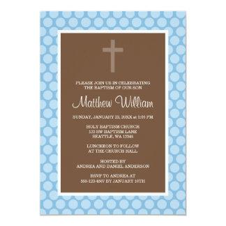 Blue Brown Polka Dot Cross Boy Baptism Christening 13 Cm X 18 Cm Invitation Card