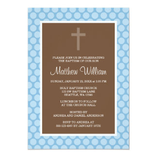 Blue Brown Polka Dot Cross Boy Baptism Christening Announcement
