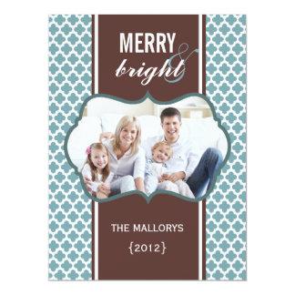 Blue Brown Quatrefoil Christmas Flat Card Announcement
