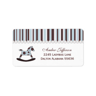 Blue & Brown Rocking Horse Address Labels