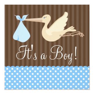Blue Brown Stork Dots Boy Baby Shower 13 Cm X 13 Cm Square Invitation Card