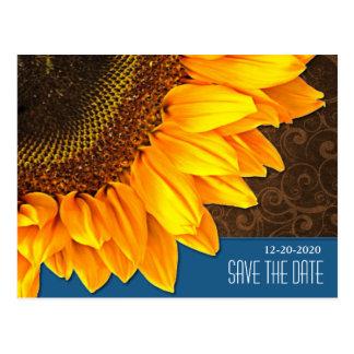 Blue & Brown Sunflower Wedding Save the Dates Postcard
