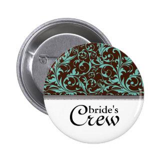 Blue Brown Swirl Bride's Crew Button