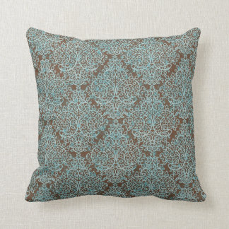 Blue & Brown Swirl Decorative Throw Pillow