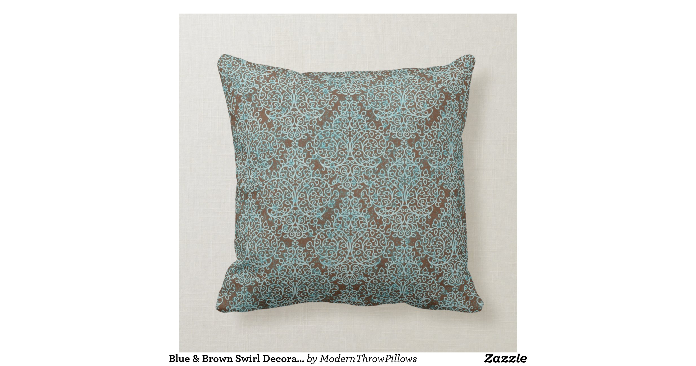 Blue & Brown Swirl Decorative Throw Pillow Throw Cushions Zazzle