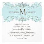 Blue Brown Swirl Monogram Wedding Invitations