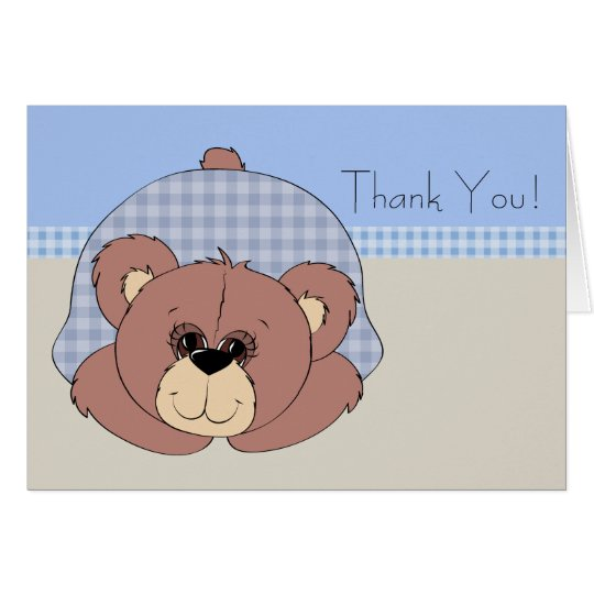Blue Brown Teddy Bear Thank You Cards