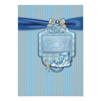 Blue Brown Vintge Boy Shower Invitation