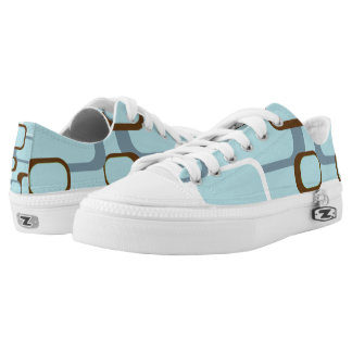 Blue Brown White Retro Squares Low Tops