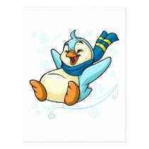 Blue Bruce sliding across ice postcards