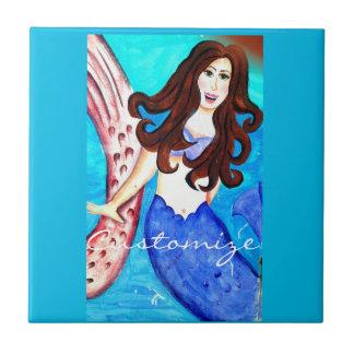 blue brunette mermaid tile