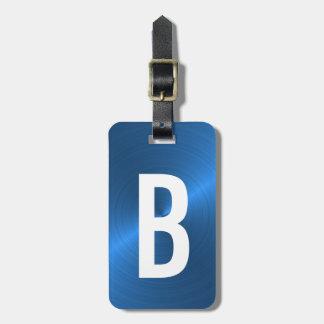 Blue Brushed Metallic Monogram Initial Luggage Tag